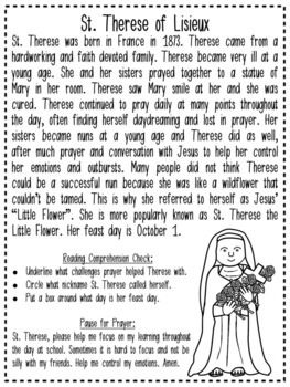 Saint Reading Passage & Reflection - St. Therese