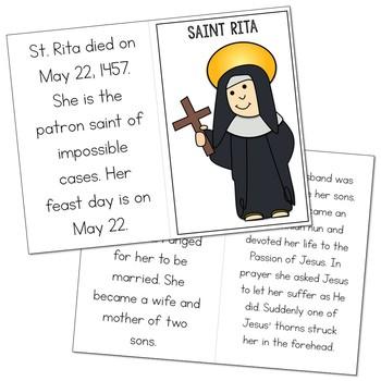Saint Rita Biography Mini Book in 3 Formats, Catholic Resource