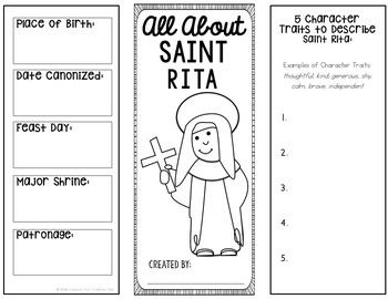 Saint Rita Research Brochure Project with Interactive Notebook Pockets