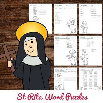 Saint Rita Word Puzzles - No Prep Catholic Activities