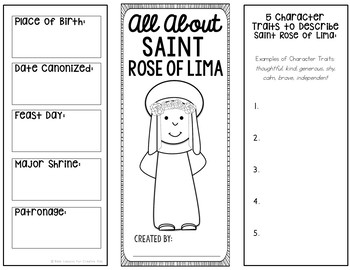 Saint Rose of Lima Brochure Research Project with Interactive Notebook Pockets