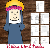 Saint Rose of Lima Word Puzzles - No Prep Catholic Activity