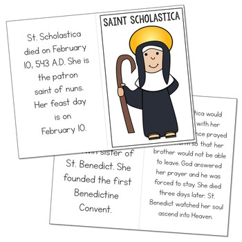 Saint Scholastica Biography Mini Book in 3 Formats, Catholic Resource