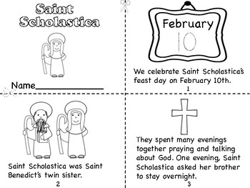 Saint Scholastica Mini Book and Coloring Pages