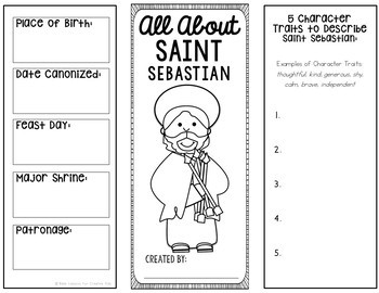 Saint Sebastian Brochure Research Project with Interactive Notebook Pockets