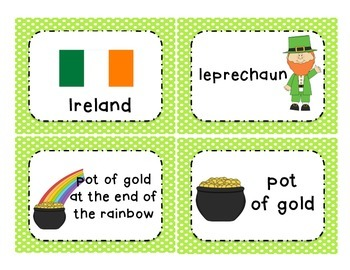 Saint St. Patrick's Day vocabulary cards and game
