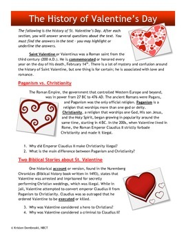 Close Reading St. Valentine's Day - History, Vocabulary, Evidence Grades 7-10