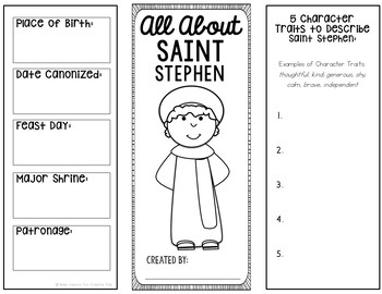 Saint Stephen Brochure Research Project with Interactive Notebook Pockets