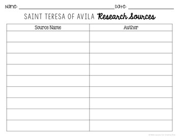 Saint Teresa of Avila Brochure Research Project with Interactive Notebook Pocket