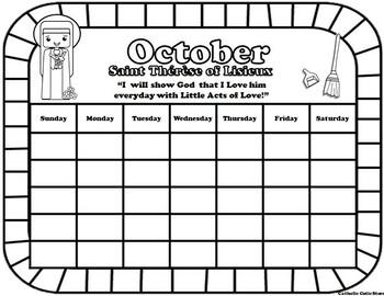 October Catholic Saint Calendar Activities - Saint Therese of Lisieux