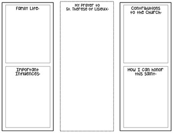 Saint Therese of Lisieux Research Project w/ Interactive Notebook Pockets