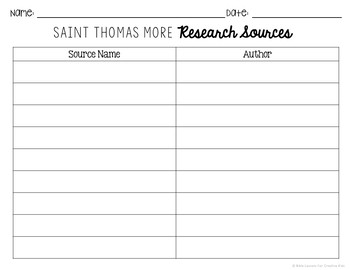 Saint Thomas More Research Project w/ Interactive Notebook Pockets