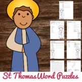 Saint Thomas the Apostle Word Puzzles - No Prep Catholic Activity