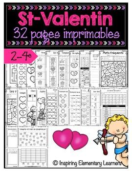 Saint-Valentin - Activités imprimables de numératie - Numeracy printables Gr 2-4