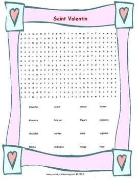 Saint Valentin-Activités Vocabulaire