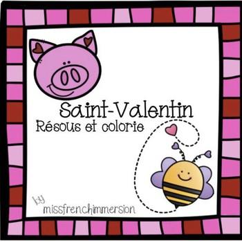 Saint-Valentin: Résous et colorie (Addition)