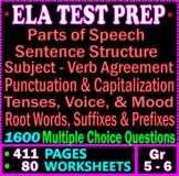 5th and 6th grade ELA Test Prep Bundle. 1600 MCQs. 80 Grammar Worksheets