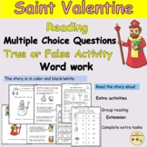 Valentines Day Reading Comprehension Passage Multiple Choi