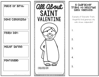 Saint Valentine Research Brochure Project with Interactive Notebook Pockets