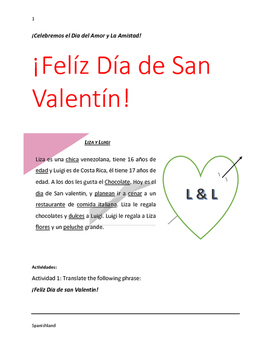 Saint Valentine's Day (San Valentin in Spanish)