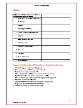 Saint Valentine's Day Work Sheet