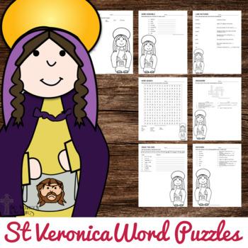 Catholic Saint Word Puzzles - No Prep Catholic Activities - St Veronica