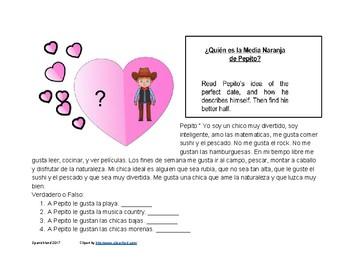valentine's Day in Spanish Reading worksheets