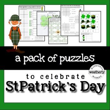 St Patricks Day Math Puzzles - algebra skills