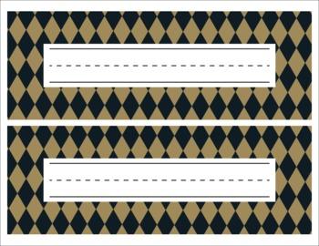 Saints Black and Gold themed Editable Name Tags/Desk Plates/Word Walls
