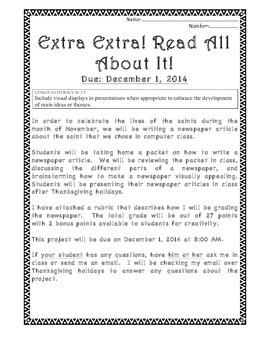 Saint's Newspaper Project