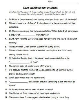 Catholic Saints Scavenger Hunt 1