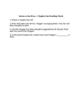 Saints at the River by Ron Rash Reading Checks by Chapter