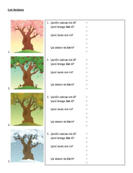 saisons seasons in french worksheet by jer teachers pay teachers. Black Bedroom Furniture Sets. Home Design Ideas