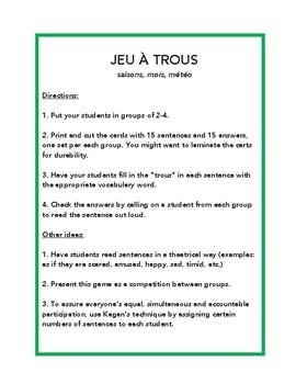 Saisons, mois, météo, jeu à trous, game in French