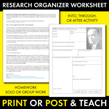 Saki (H.H. Munro) Author Study Worksheet, Easy Biography Activity, CCSS