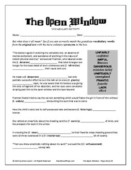 Saki's The Open Window text and comprehension activities