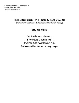 Sal the Horse (Listening Comprehension Assessment w/Rubric)