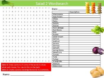 Salad #2 Wordsearch Sheet Starter Activity Keywords Food Nutrition