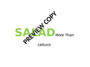Salad Powerpoint and Guided Note Sheet for Culinary Arts and Food FCS Courses