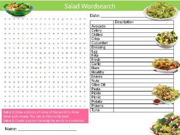 Salad Wordsearch Sheet Starter Activity Keywords Food Diets Nutrition