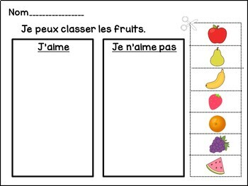 Salade de fruits French Fruit Reader & Sorting Page {en français}