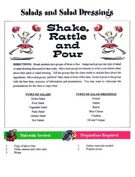Salads & Salad Dressings Game / Activity