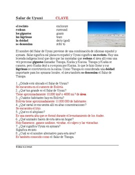 Salar de Uyuni Lectura y cultura: Bolivian Salt Flats Spanish Cultural Reading