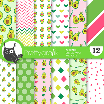 Sale Avocado papers, commercial use, scrapbook papers, patterns - PS916