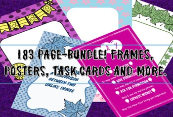Sale! Bundle-183 pages -frames,grammar and idioms posters,task cards,backgrounds