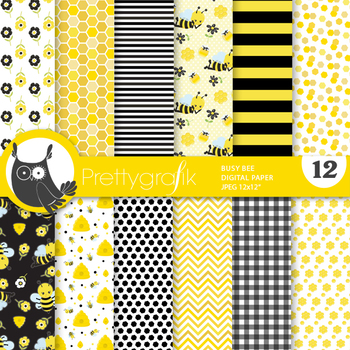 Sale Busy bee papers, commercial use, scrapbook papers, patterns - PS915