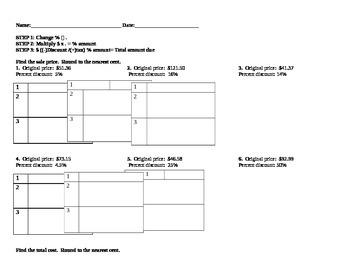 Sale Calculation Worksheet
