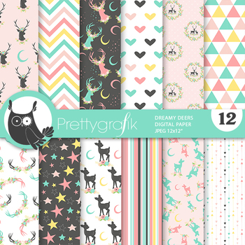 Sale Dreamy deer papers, commercial use, scrapbook papers, patterns - PS924