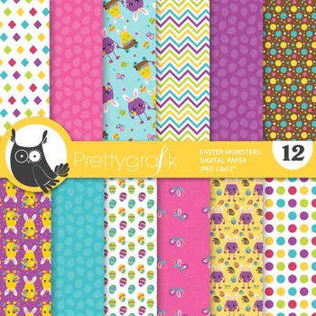 Sale Easter monster papers, commercial use, scrapbook papers, patterns - PS911