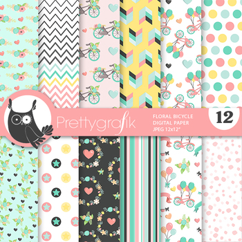 Sale Flower bicycle papers, commercial use, scrapbook papers, patterns - PS929